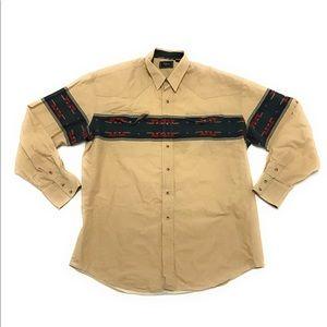 Vtg Roper Western Pearl Snap Aztec Cowboy Shirt